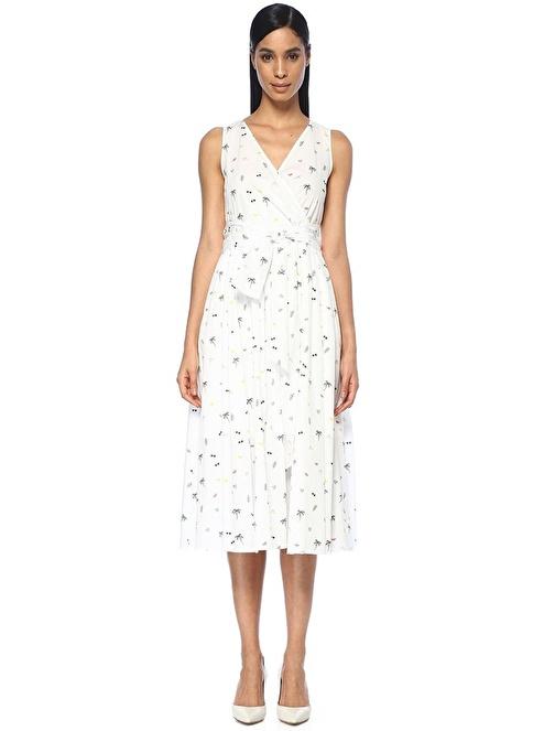 Beymen Club V Yaka Kuşaklı Pileli Midi Elbise Beyaz